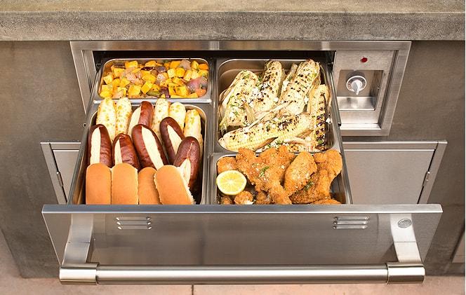 warming drawer in outdoor kitchen
