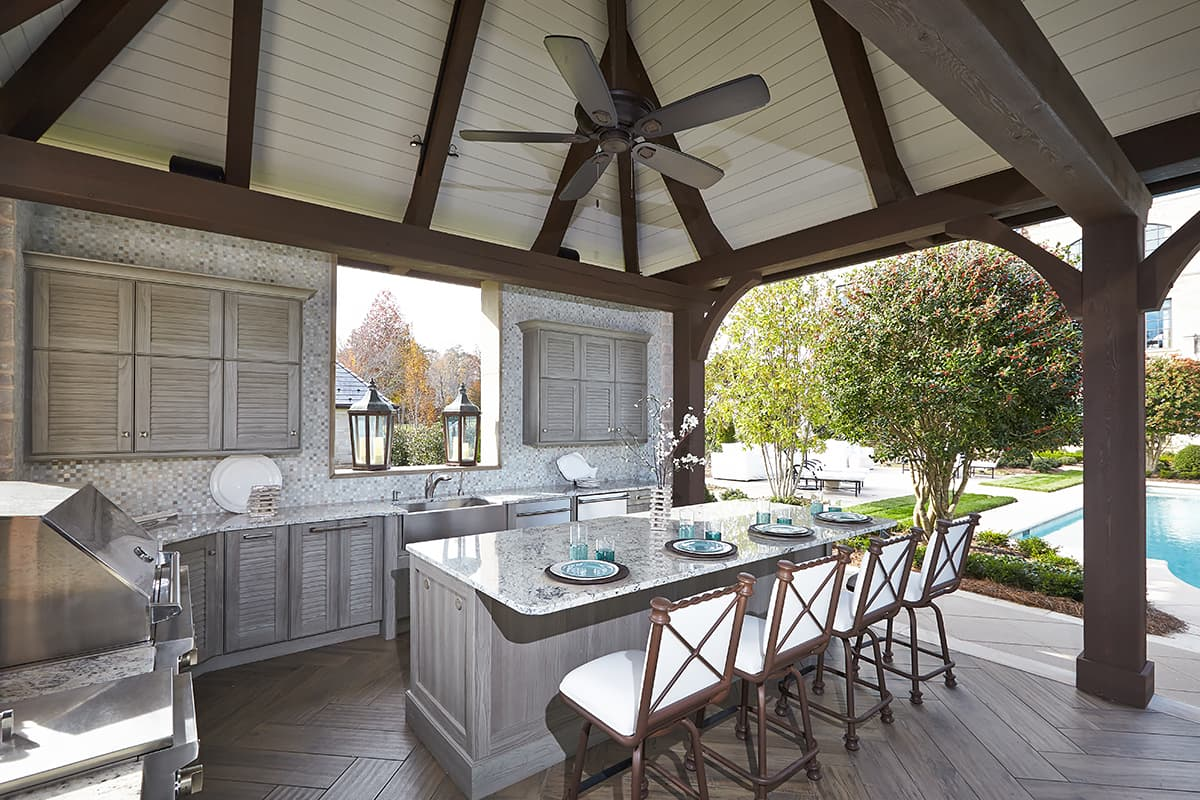 outdoor kitchen and dining space
