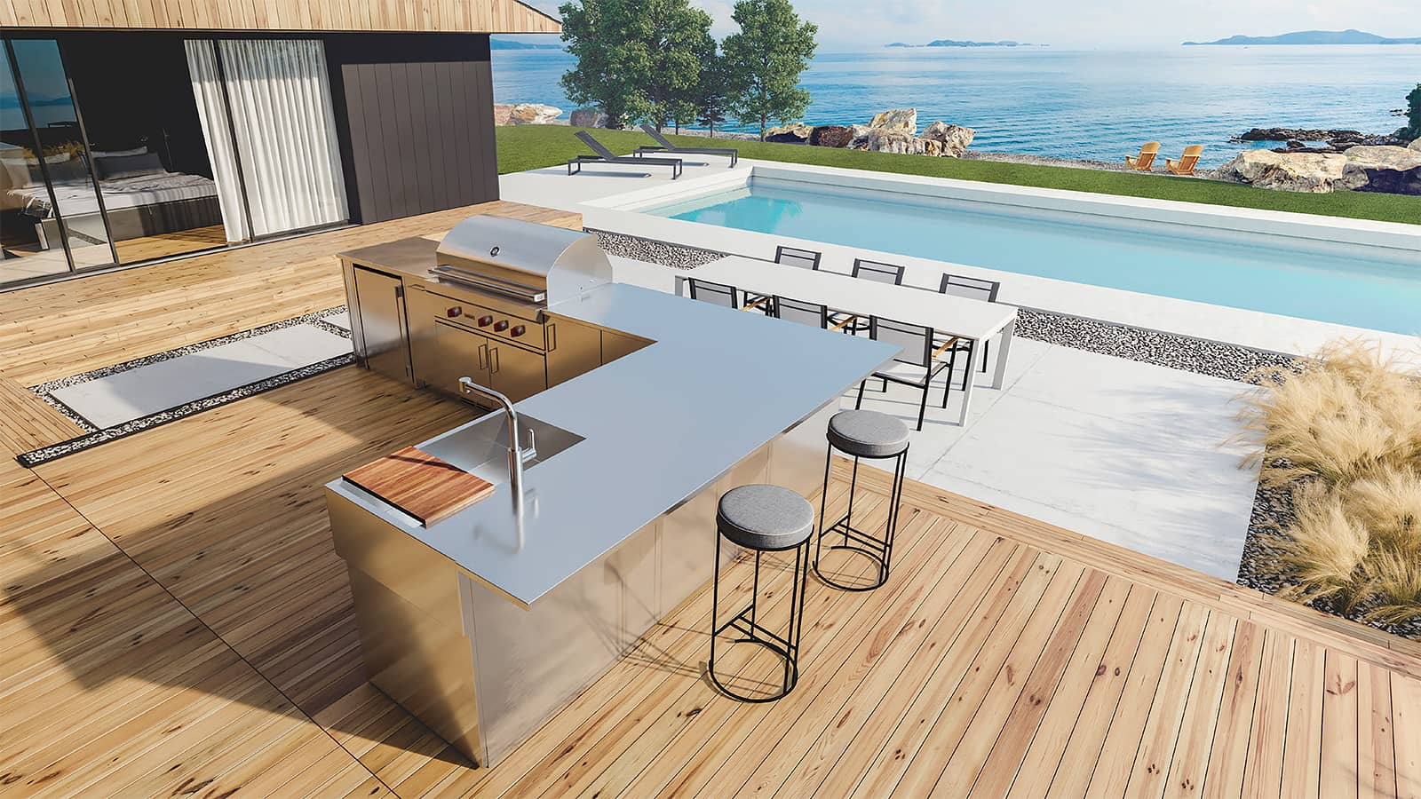 outdoor living renovation with new outdoor kitchen and deck