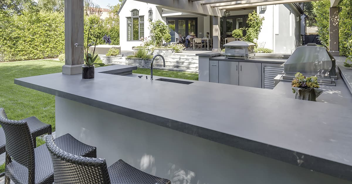 outdoor cabinetry and long countertop
