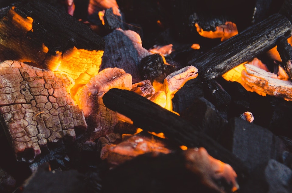 fire logs and ashes