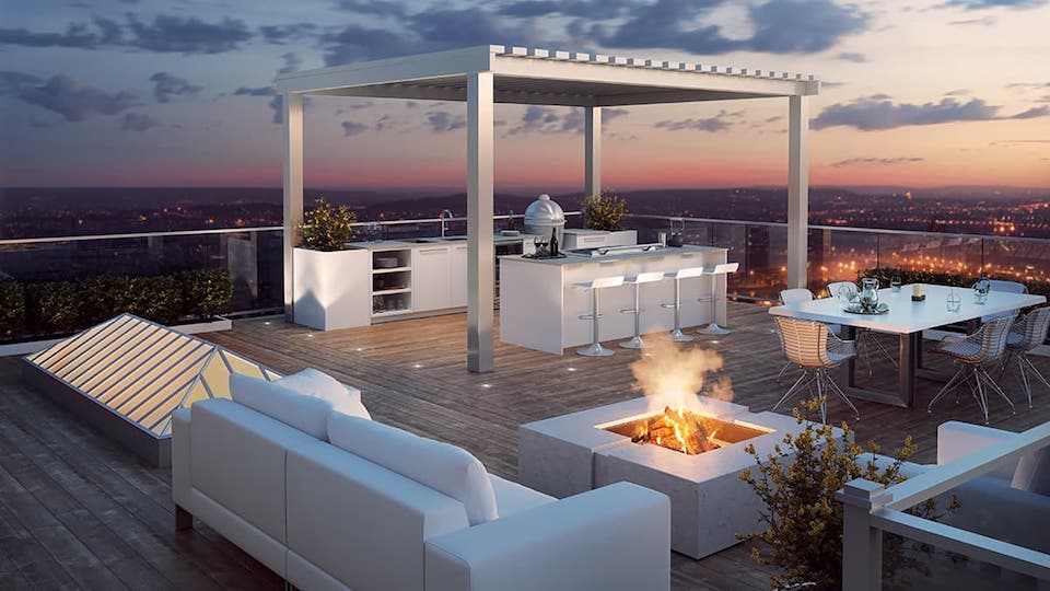 fire pit on rooftop deck