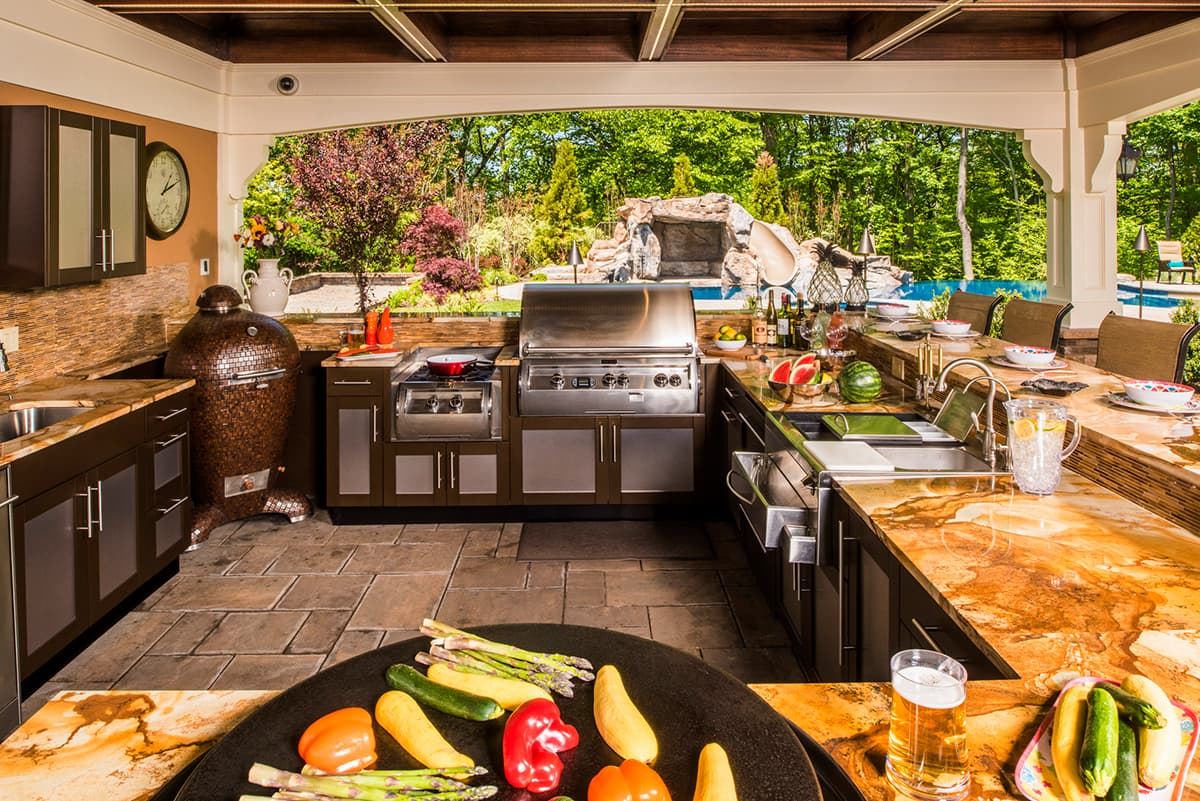 outdoor kitchen with food
