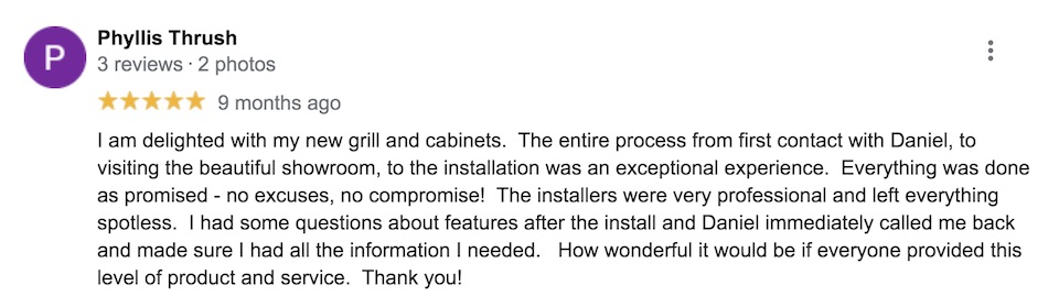 Outeriors Google review