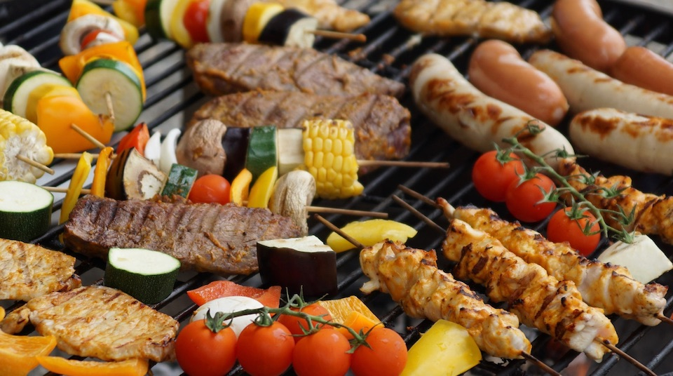 assorted meat and veggies on grill
