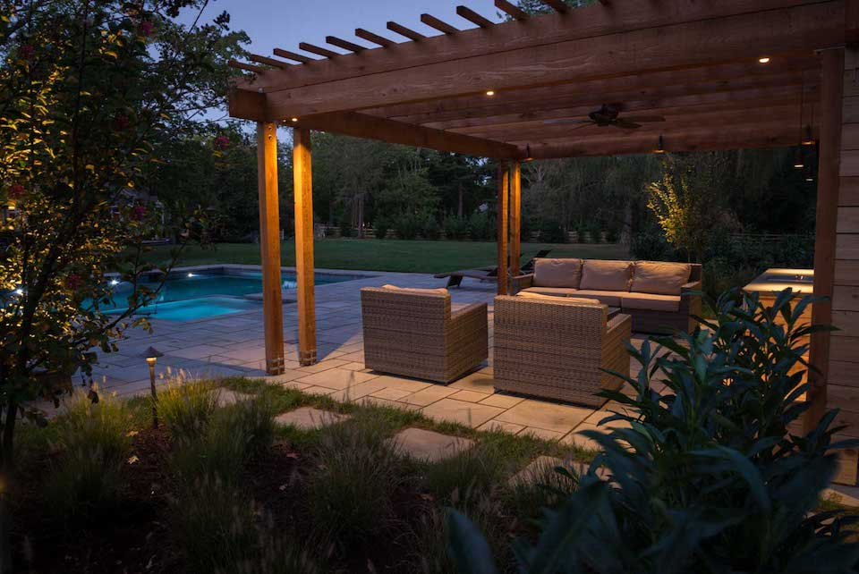 outdoor living space at night