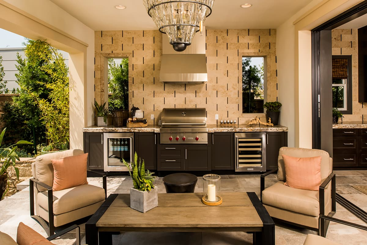 outdoor living area with kitchen