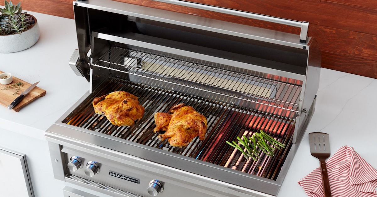 grilling chicken and veggies