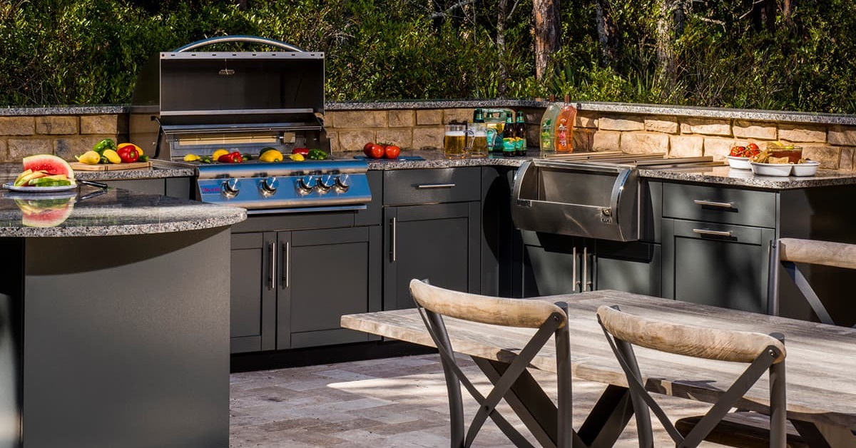 outdoor cooking and dining area